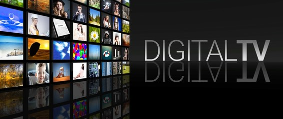 Digital television screens black background