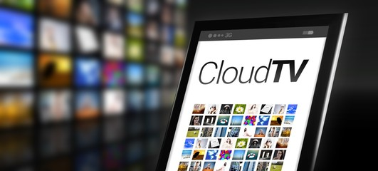 Cloud television tablet with many app icons