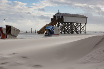 Starker Wind in Sankt Peter Ording