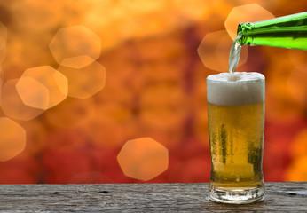 Enjoy beer in night club.