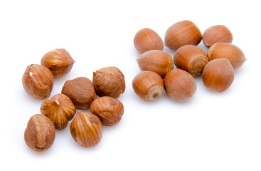 Opened and whole hazelnuts