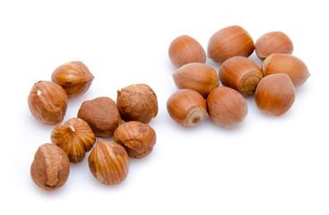 Opened and whole hazelnuts