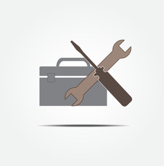 Screwdriver and wrench with toolbox vector icon