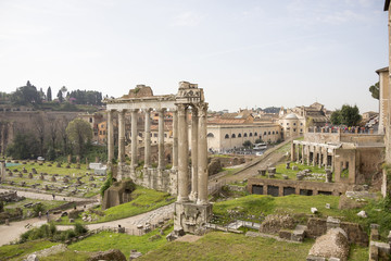 Tourists visiting the Roman Forum