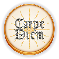Carpe Diem Embroidery, cross stitch Gothic script, wood hoop