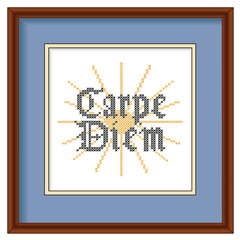 Embroidery Carpe Diem Gothic script, mahogany wood picture frame