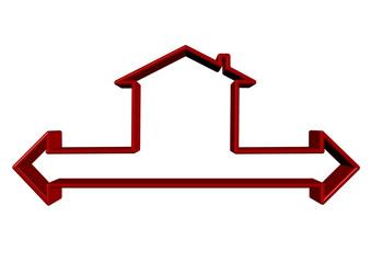 oklu kırmızı ev