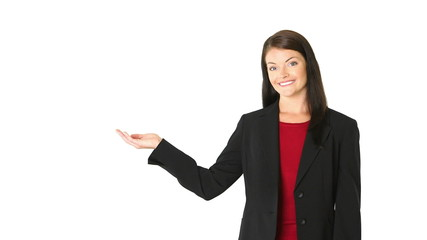 Young businesswoman pointing to copy space