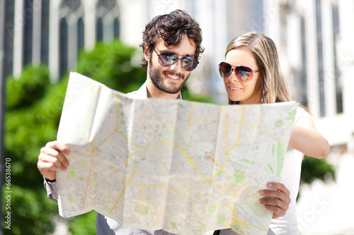 Couple of turist in the city