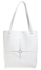 white leather female handbag with punched pattern