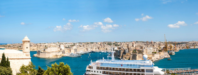 Panorama of Valletta with dock, Malta
