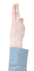 two fingers salute - hand gesture isolated