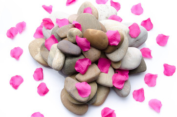 Pill of pebbles with pink petals