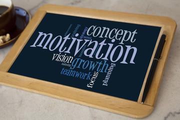 blackboard with motivation word cloud