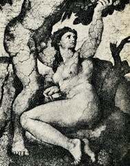 Adam and Eve in the Garden by Michelangelo (detail)