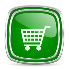 cart glossy computer icon on white background