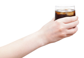 hand holding soft drink with ice in glass