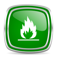 flame glossy computer icon on white background
