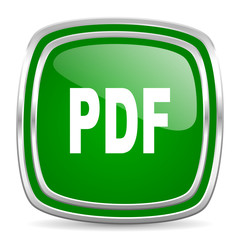 pdf glossy computer icon on white background