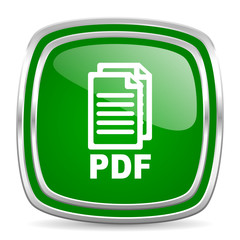 pdf glossy computer icon on white background,