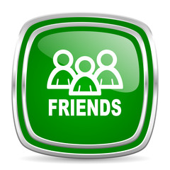 friends glossy computer icon on white background