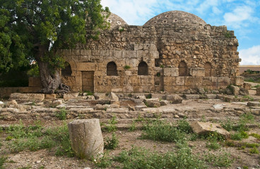 ancient byzantine baths with big tree
