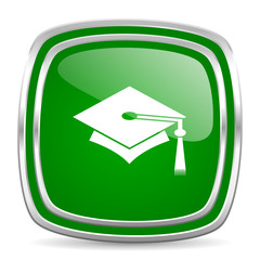 education glossy computer icon on white background