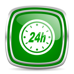 24h glossy computer icon on white background