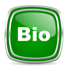 bio glossy computer icon on white background