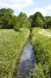 canvas print picture - Landschaft mit Wassergraben, Bäumen und blauem Himmel