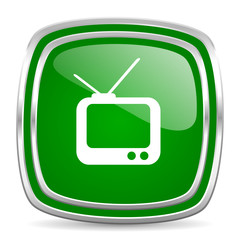 tv glossy computer icon on white background