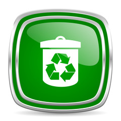 recycle glossy computer icon on white background