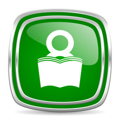 book glossy computer icon on white background