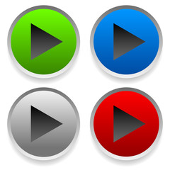 Modern play buttons, right arrows on circles with masked shadow.
