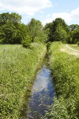 Landschaft mit Wassergraben, Bäumen und blauem Himmel