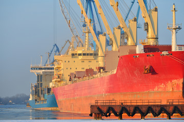 cargo ships (Bulk carriers) loading in cargo terminal of Riga