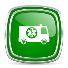 ambulance glossy computer icon on white background