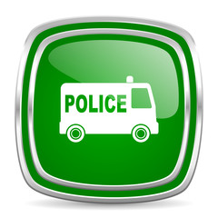 police glossy computer icon on white background