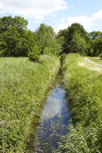 canvas print picture Landschaft mit Wassergraben, Bäumen und blauem Himmel
