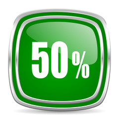 50 percent glossy computer icon on white background