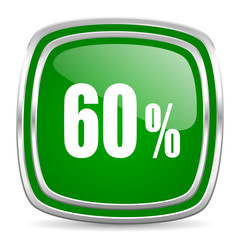 60 percent glossy computer icon on white background