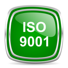 iso 9001 glossy computer icon on white background