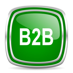 b2b glossy computer icon on white background