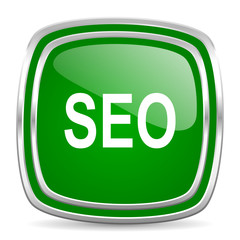 seo glossy computer icon on white background