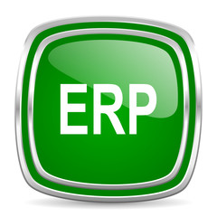 erp glossy computer icon on white background