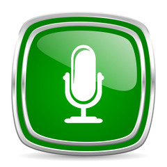 microphone glossy computer icon on white background