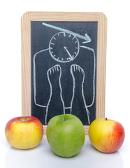 Concept of weight loss with apples