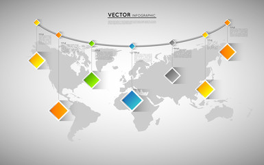 infographic map template with colorful squares