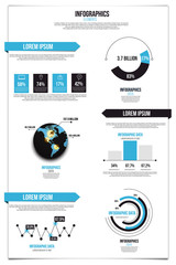 Infographics set. Graphs and Elements.Flat style. Vector