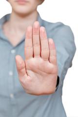 stop sign hand gesture